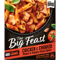 Photo of On The Menu The Big Feast Chicken & Chorizo Penne In Tomato Pasta Sauce 480g