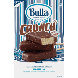 Photo of Bulla Ice Cream Crunch Vanilla With Crunchy Biscuit Pieces 8 Pack 631ml