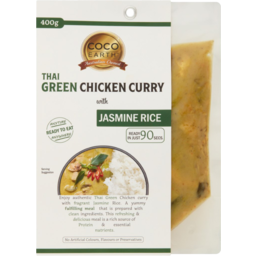 Photo of Coco Earth Thai Green Curry Chicken With Jasmine Rice 400g