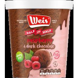 Photo of Weis Half Raspberry Sorbet & Half Dark Chocolate Frozen Dessert 1l