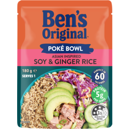 Photo of Bens Original Poke Bowl Asian Inspired Soy & Ginger Rice Pouch 180g
