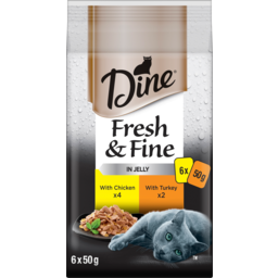 Photo of Dine Fresh & Fine In Jelly With Chicken & Turkey Cat Food Pouch 6x50g