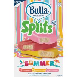 Photo of Bulla Summer Splits Strawberry Passion Pine & Watermelon Ice Creams 10 Pack 750ml