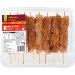 Photo of Simply Cook Fresh Chicken Nice & Spicy Kebabs 8 Pack Tray