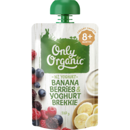 Photo of Only Organic Baby Food Pouch, Banana, Berries & Yoghurt 9+ Month 120g