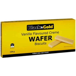 Photo of Black & Gold Vanilla Cream Wafers 125gm