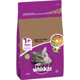 Photo of Whiskas 1+ Dry Cat Food Beef & Lamb Flavours 1.8kg Bag