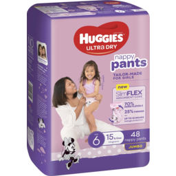 Photo of Huggies Ultra Dry Nappy Pants Girl Size 6 (15kg+) 48 Pack