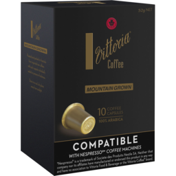 Photo of Vittoria Coffee Compatible* 10 X Mountain Grown Capsules 52g