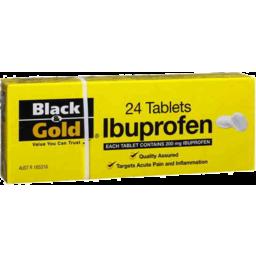 Photo of Black & Gold Ibuprofen Tablets 24pk