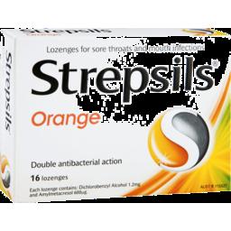Photo of Strepsils Double Antibacterial Soothing Sore Throat Lozenges Orange 16pk