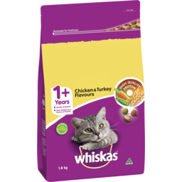 Photo of Whiskas 1+ Dry Cat Food Chicken & Turkey Flavours 1.8kg Bag
