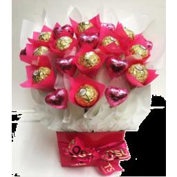 Photo of Pink Heart Ferrero Bouquet