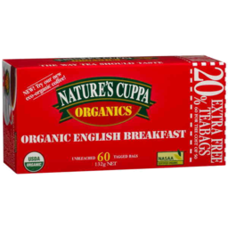 Photo of Natures Cuppa Organic English Breakfast 60pk 20% Extra Free