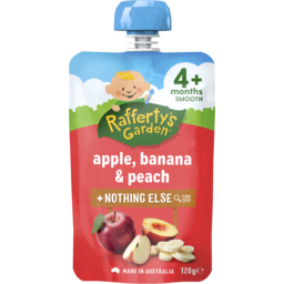 Photo of Raffertys Garden Apple, Banana & Peach Baby Food 4m+ 120gm