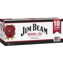 Photo of Jim Beam White & Cola Can 375ml 10 Pack