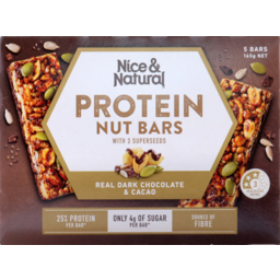 Photo of Nice & Natural Protein Nut Bars Dark Chocolate Cacao 5pk 165g