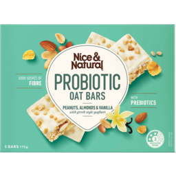 Photo of Nice & Natural Peanuts Almond & Vanilla Probiotic Oat Bars 5 Pack 175g