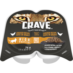 Photo of Crave Wet Cat Food Chicken Cuts In Gravy 75g (2x37.5g) Tray