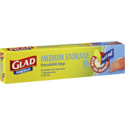 Photo of Glad Snaplock Medium Storage Resealable Bags 15pk