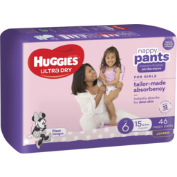 Photo of Huggies Ultra Dry Nappy Pants, Girls, Size 6 (15+Kg), 46 Pack (Jumbo)