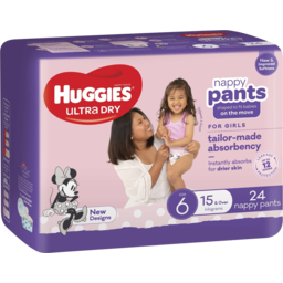 Photo of Huggies Ultra Dry Nappy Pants, Girls, Size 6 (15+Kg), 24 Pack (Convenience)