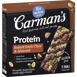 Photo of Carman's Gourmet Protein Bars Salted Dark Choc & Almond 200g