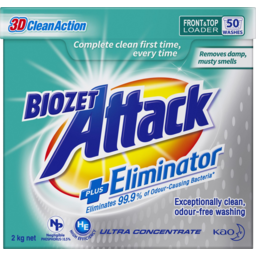 Photo of Bio Zet Attack Ultra Concentrate Plus Eliminator Front & Top Loader Laundry Powder 2kg