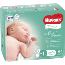 Photo of Huggies Newborn Nappies, Size 1 (Up To 5kg), 54 Nappies Bulk Packs