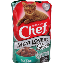 Photo of Chef Cat Food Pouch Rabbit In Gravy 4 Pack