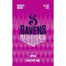 Photo of 3 Ravens New World IPA Ctn 375ml