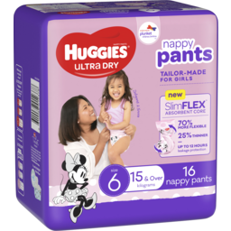 Photo of Huggies Ultra Dry Nappy Pants Girl Size 6 (15kg & Over) 16 Pack
