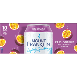 Photo of Mount Franklin Lightly Sparkling Passionfruit Hint Of Natural Flavour No Sugar Cans 10x375ml