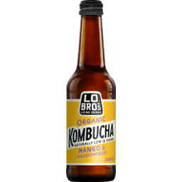 Photo of Lo Bros Organic Kombucha Mango & Passionfruit Naturally Low In Sugar Sparkling Live Cultured Drink 330ml