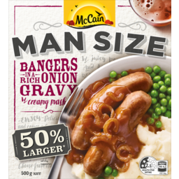 Photo of MCCAIN MAN SIZE BANGERS & MASH W/ONION GRAVY 500G