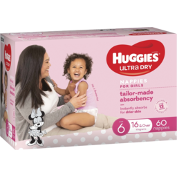 Photo of Huggies Ultra Dry Nappies Girls Size 6 (16+Kg) 60 Pack