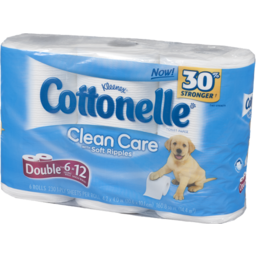 Photo of Kleenex Cottonelle Clean Care With Soft Ripples Double Toilet Paper Rolls - 6 Ct