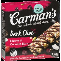 Photo of Carman's Dark Choc Cherry & Coconut Bars 6x35g