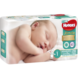 Photo of Huggies Ultimate Newborn Nappies, Unisex, Size 1 Newborn (Up To 5kg), 28 Nappies