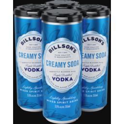 Photo of Billsons Vodka Creamy Soda 355ml 4 Pack