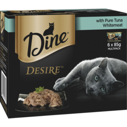 Photo of Dine Desire Wet Cat Food Pure Tuna Whitemeat 6x85g Can