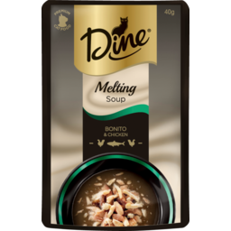 Photo of Dine Cat Food, Melting Soup Bonito & Chicken 40g