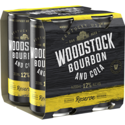 Photo of Woodstock Bourbon & Cola 12% 200ml 4 Pack