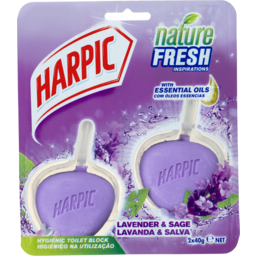 Photo of Harpic Nature Fresh Hygienic Toilet Block Cleaner Lavender Twin Pack 2x40g