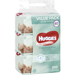 Photo of Huggies Fragrance Free Baby Wipes Value Bundle Pack (3x80 Pk)