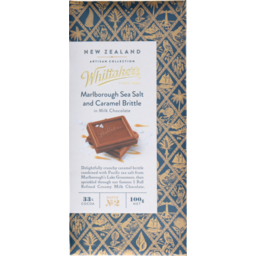 Photo of Whittaker's New Zealand Artisan Collection Creamy Milk Chocolate 33% Cocoa Sea Salt Caramel Brittle 100g