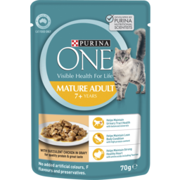 Photo of Purina One Adult Mature 7+ With Chicken In Gravy Wet Cat Food 70g