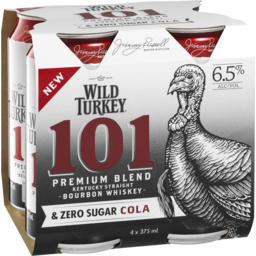 Photo of Wild Turkey 101 & Zero Cola Can 375ml 4 Pack