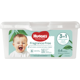 Photo of Huggies Fragrance Free Thick Baby Wipes Tub 64 Pack