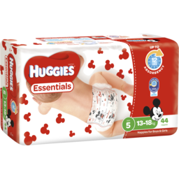 Photo of Huggies Essentials Nappies, Unisex, Size 5 Walker (13 - 18kg), 44 Nappies